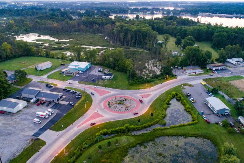 Roundabout at Fox Farm Road and Old US 30 - Warsaw, IN