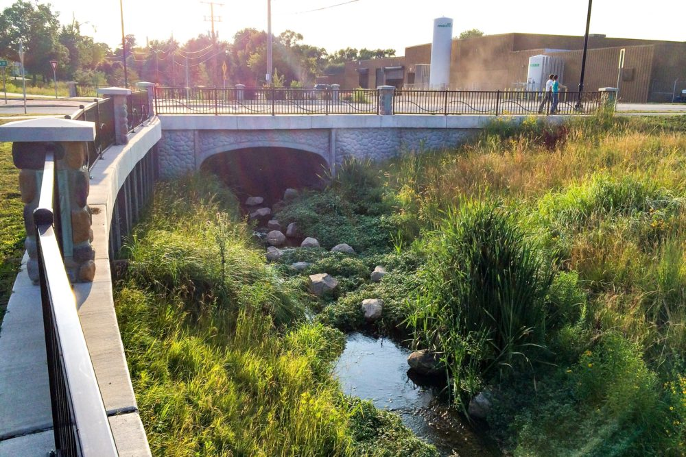 Incorporated Basin and Natural Stream Ending a 90ft Storm Sewer along Angela Boulevard - South Bend, IN